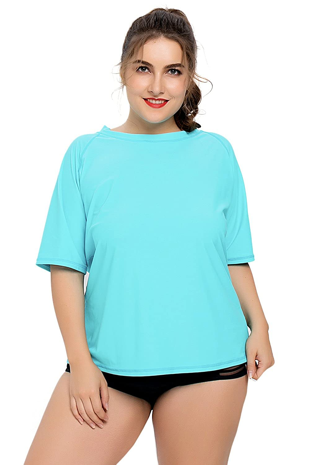 44d11f896fc71 UPF 50+ rashguard top protects sensitive skin from sun burn and harmful  rays. Short sleeve rash guard swimsuit with crew neck for more body  coverage.