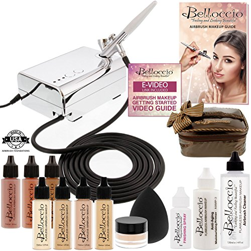 Belloccio Professional Beauty Deluxe Airbrush Cosmetic Makeup System with 4 Fair Shades of Foundation in 1/2 oz Bottles - Kit includes Blush, Bronzer and Highlighter and 3 Free Bonus Items, - Makeup Airbrush Video