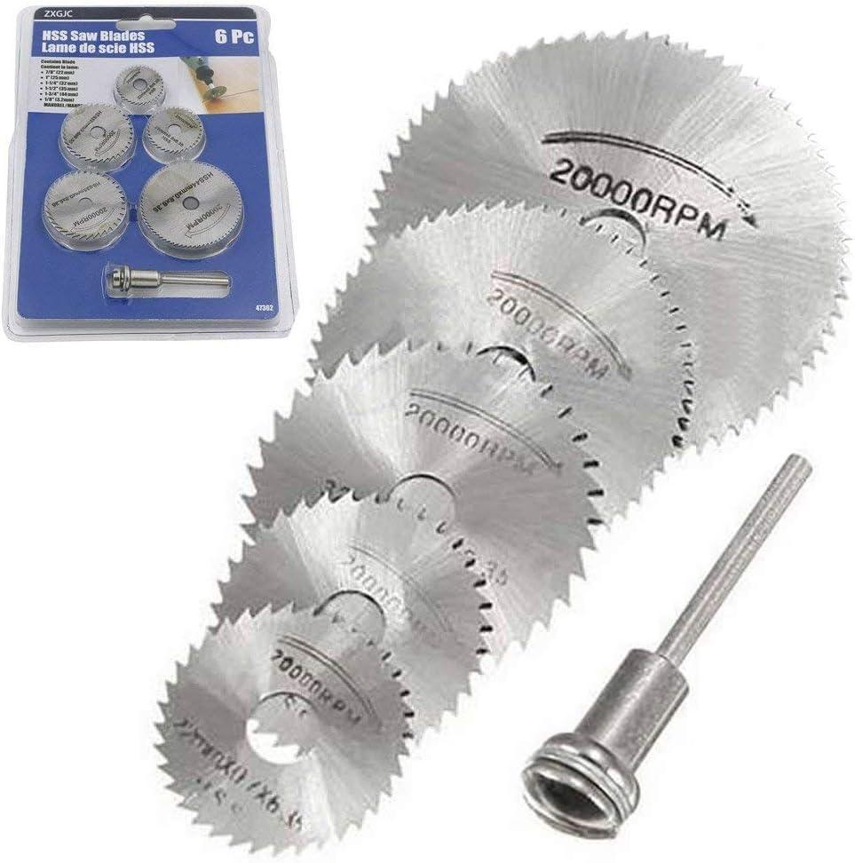 6 piezas HSS hoja de sierra herramienta rotativa 1//8 v/ástago circular HSS disco de sierra cuchillas de corte de rueda con mandriles para Dremel Fordom taladros herramientas rotativas