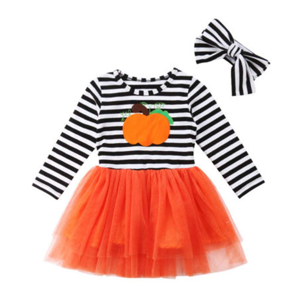 Wassery Thanksgiving Dress Toddler Baby Girls Turkey Striped Ruffles Sundress