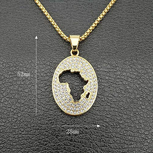 Hip Hop Full Rhinestones Paved Bling Iced Out Gold Stainless Steel Hollow Africa Map Pendants Necklace For Men Jewelry
