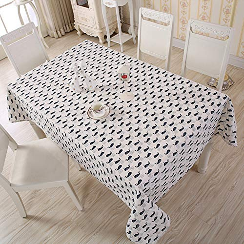 Cityeast Small Whale Pattern Cotton Linen Stain Resistant Wrinkle Tablecloth, 55 x 86 Inch for Restaurant Party Rectangle/Oblong/Oval Table