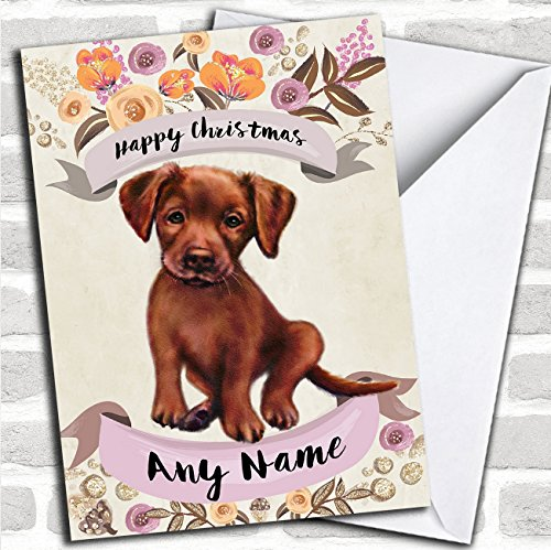 Rustic Gold Dog Chocolate Labrador Personalized Cute Christmas Card