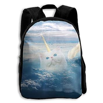 Funny Cat, diseño de unicornio en el cielo Kid Mochila, bebé Niños Niñas Niños Pre escuela mochila niños mochilas bolsas Cartoon Color blanco: Amazon.es: ...