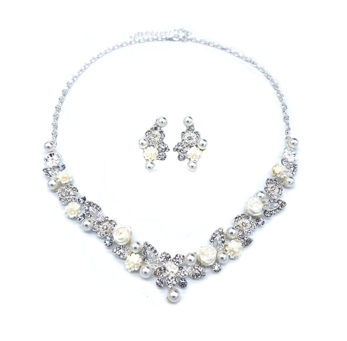 UDORA Silver Crystal Pearl White Flower Vintage Jewelry Set for Bridal Party