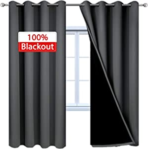 Yakamok 100% Dark Gray Blackout Window Curtain Panels Full Light Blocking Drapes with Black Liner Room Darkening Thermal Insulated Curtains for Bedroom/Living Room(Dark Grey, 52W x 96L, One Pair)