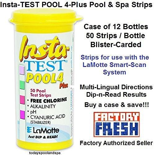 (LaMotte Insta-Test Pool 4-Plus Smart-SCAN Test Strips, pkg/50 Strips - case/12 )