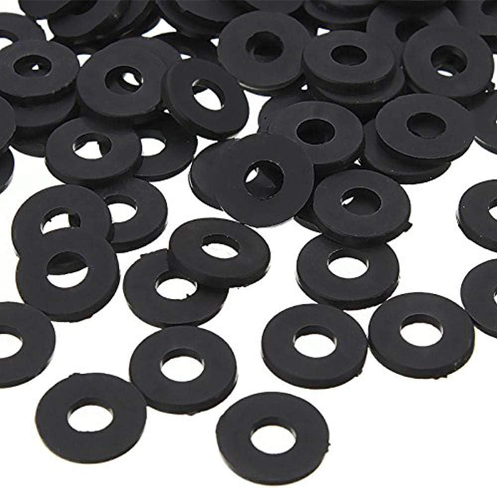 Ogquaton Rondelles isolantes plates en nylon M2 x 5 mm x 1 mm Joints Entretoises noires 200PCS Pratiques et populaires