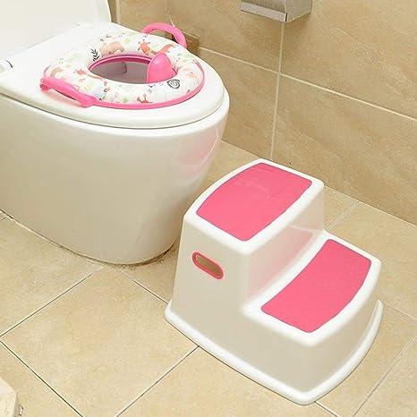 Taburete para niños 2 Pasos Banco para bebé Lavabo Inodoro Inodoro Antideslizante Pie Taburete Escalera de plástico Escalera para niños Ideal para niños y niñas Baño KADJ (Color : Pink): Amazon.es: Hogar