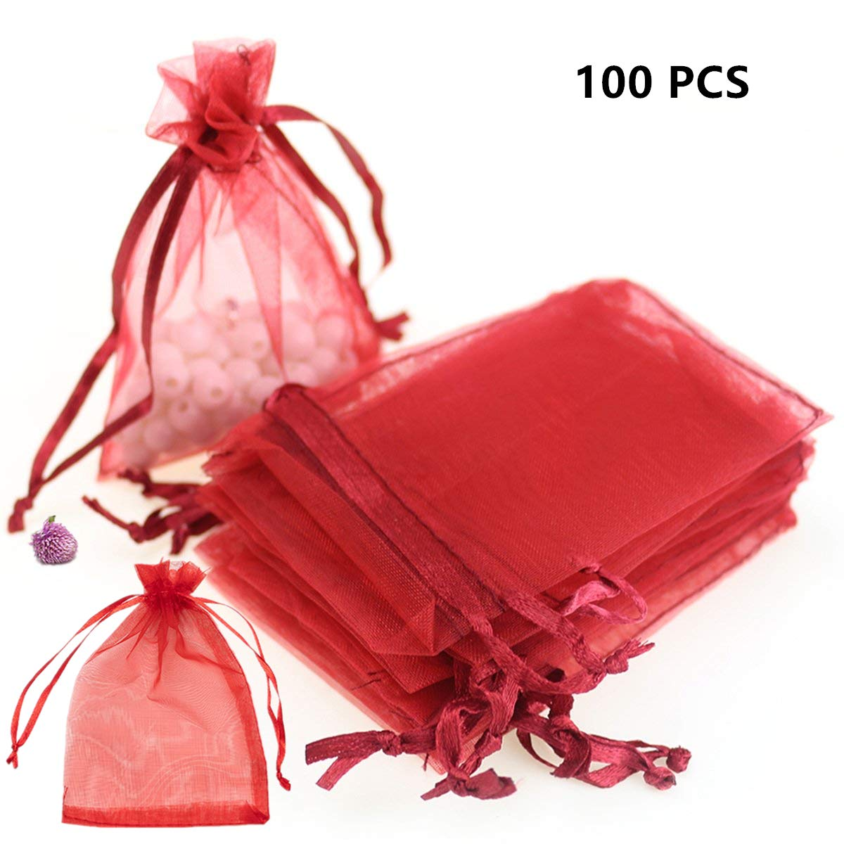 Hoomzia 100Pcs Organza Gift Pouches Wedding Party Christmas Favor Gift Bags Jewelry Pouches (8'' x 12''(100-PCS), Red) by Hoomzia