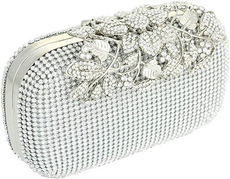 Bolsa De Embrague Para Mujer, Nuevo, tono plata, diamante