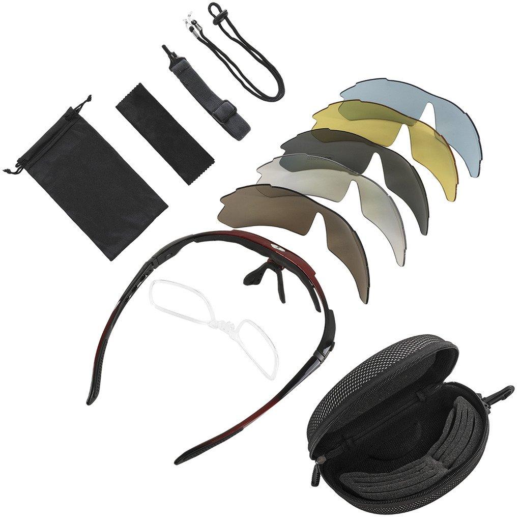 e79e48c72e KT SUPPLY Gafas de Sol Deportivas Polarizadas TR90 incluye 5 tipos de lentes  intercambiables (Rojo): Amazon.es: Deportes y aire libre