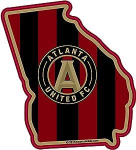 Atlanta United Georgia Sticker | GA State Shaped 5 Strip Label | Apply to Mug Phone Laptop Water Bottle Decal Cooler Bumper | MLS FC Football Club Magnet Falcons Halks 5stripefriday Fan Golden Spike