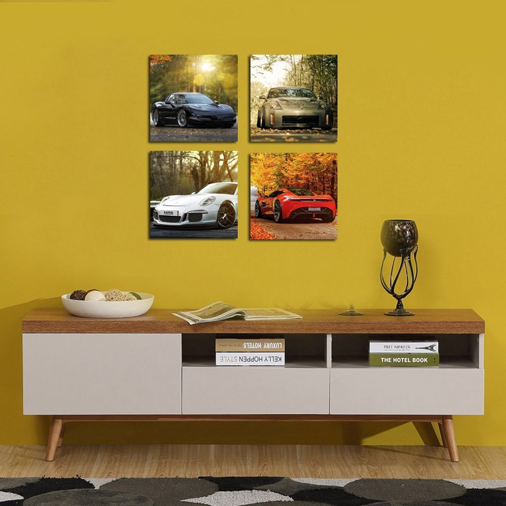 Amazon.com: Cairnsi 4 Piece Modern Framed Landscape Artwork Giclee ...