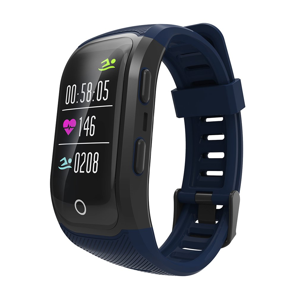 GPS Sports Watch Heart Rate Monitor Waterproof Fitness Tracker Bluetooth Smart Bracelet for iOS Android Phone dark blue