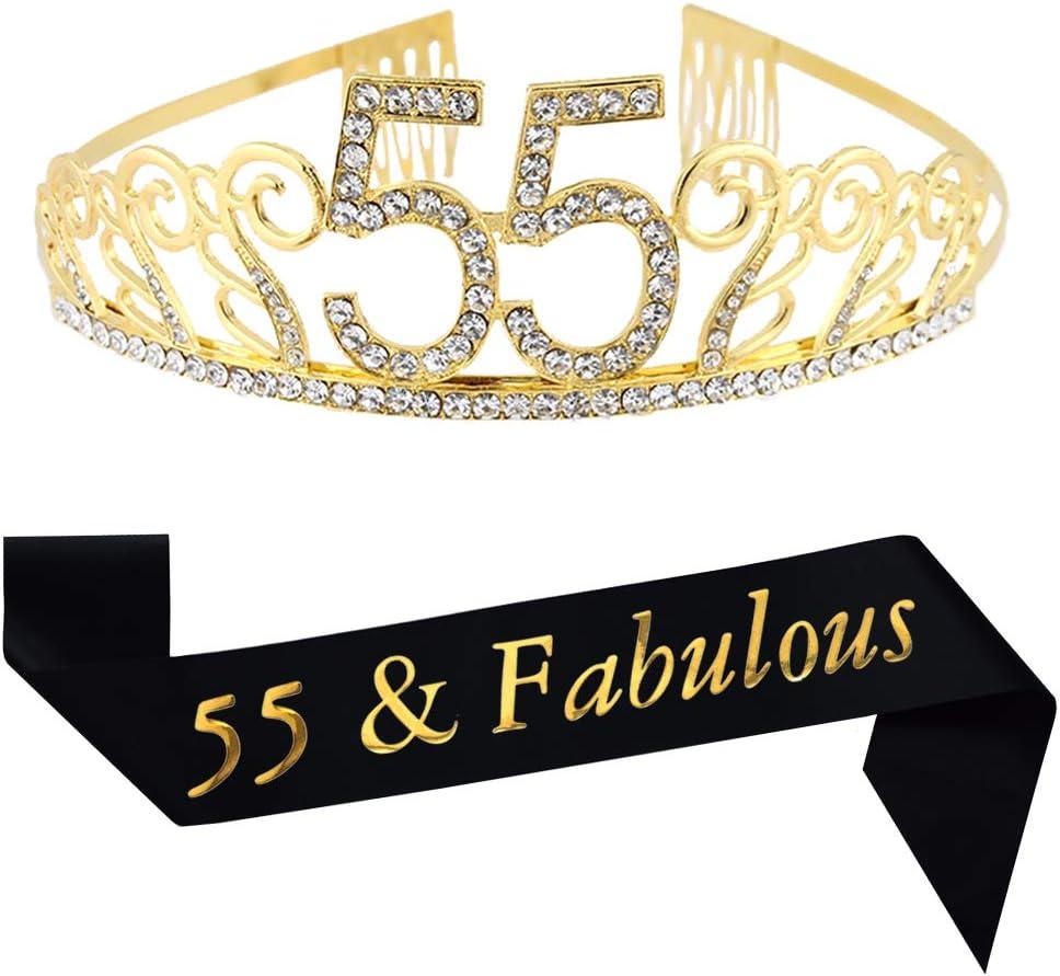 55th Birthday Gold Tiara and Sash Glitter Satin Sash and Crystal Rhinestone Tiara Crown for Happy 55th Birthday Party Supplies Favors Decorations 55th ...