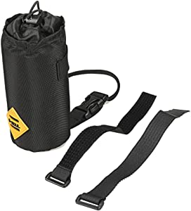 TJK Bike Water Bottle Holder Bag, Insulated Heat Preservation Velcros Bicycle Coffee Cup Holders Storage for Kid Adult, Black Handlebar Drink/Beverage Container for Mountain Road Bike