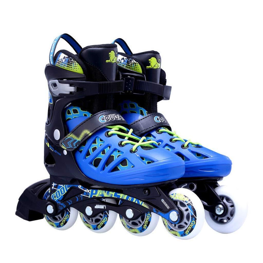 JIANXIN インラインスケート、キッズアジャスタブルローラースケート、男性、女性、初心者用スケート、黒と青 (Size : EU 41-EU 44)  EU 41-EU 44