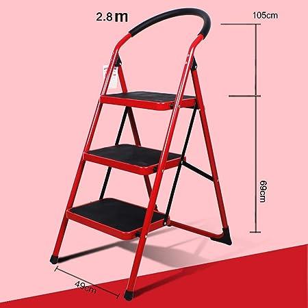 Escalera de Tijera Plegable - Escalera de Caracol en Tres Pasos Engrosamiento Necesidades diarias multipropósito en Interiores (Color : A): Amazon.es: Hogar