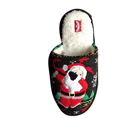 Mens Christmas Slippers Dapping Santa Ugly Sweater Pattern Slip On House Bed (Medium Fits Shoe Size 9-10): Sports & Outdoors