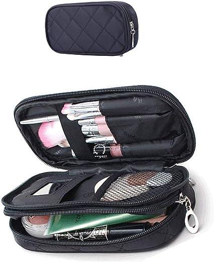 Xelparucoutdoor bolsa de maquillaje para mujer, estuche para lápices, organizador de cosméticos, bolsas de maquillaje, brochas de maquillaje, kit de viaje, mini bolsa (negro): Amazon.es: Belleza