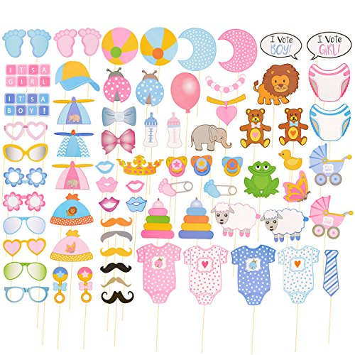 - Baby Shower Photo-Booth Props -72-Pack Baby Shower Selfie Props, Newborn Photo Props - Baby Boy or Girl Gender Reveal Party Favors and Supplies, Assorted Designs