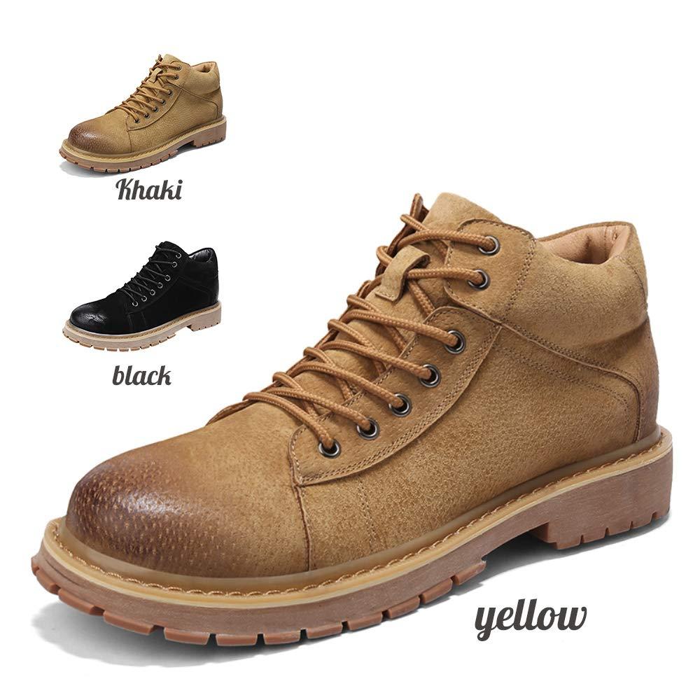 メンズアンクルブーツ/滑り止め防水作業ブーツ/イエローブラックサイズ38-44 B07KKL5X23 イエロー EU38/US6(M)/UK5