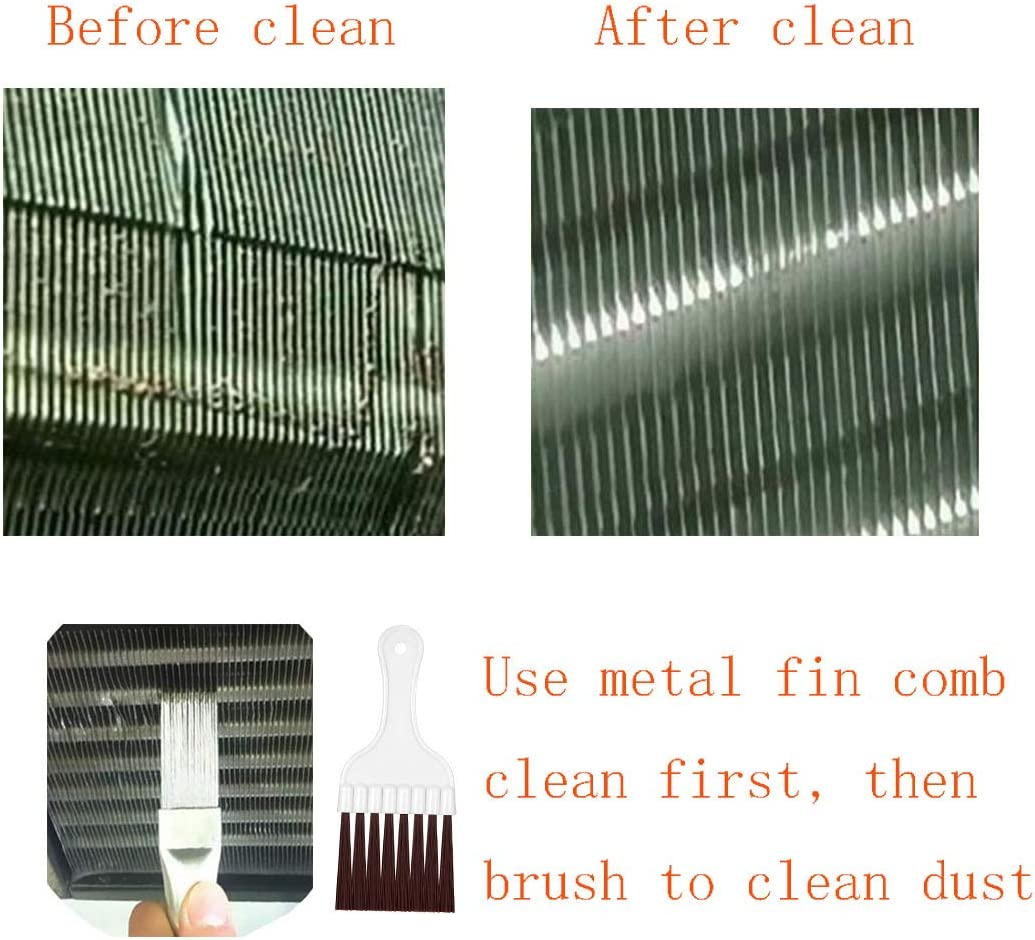 Sliver Yhslmh 2 Pieces Air Conditioner Fin Repair Comb Cleaner Ac Condenser Coil Metal and Whisk Cleaning Brush Evaporator Radiator Vents Straightener Tool