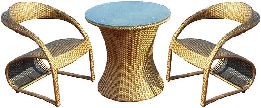 DGSFES Balcón Silla de Mimbre de jardín, Muebles de jardín de Mimbre Patio Exterior Comedor Mesa de Comedor Sillas Taburete, Silla Mesa de Centro de ratán: Amazon.es: Deportes y aire libre