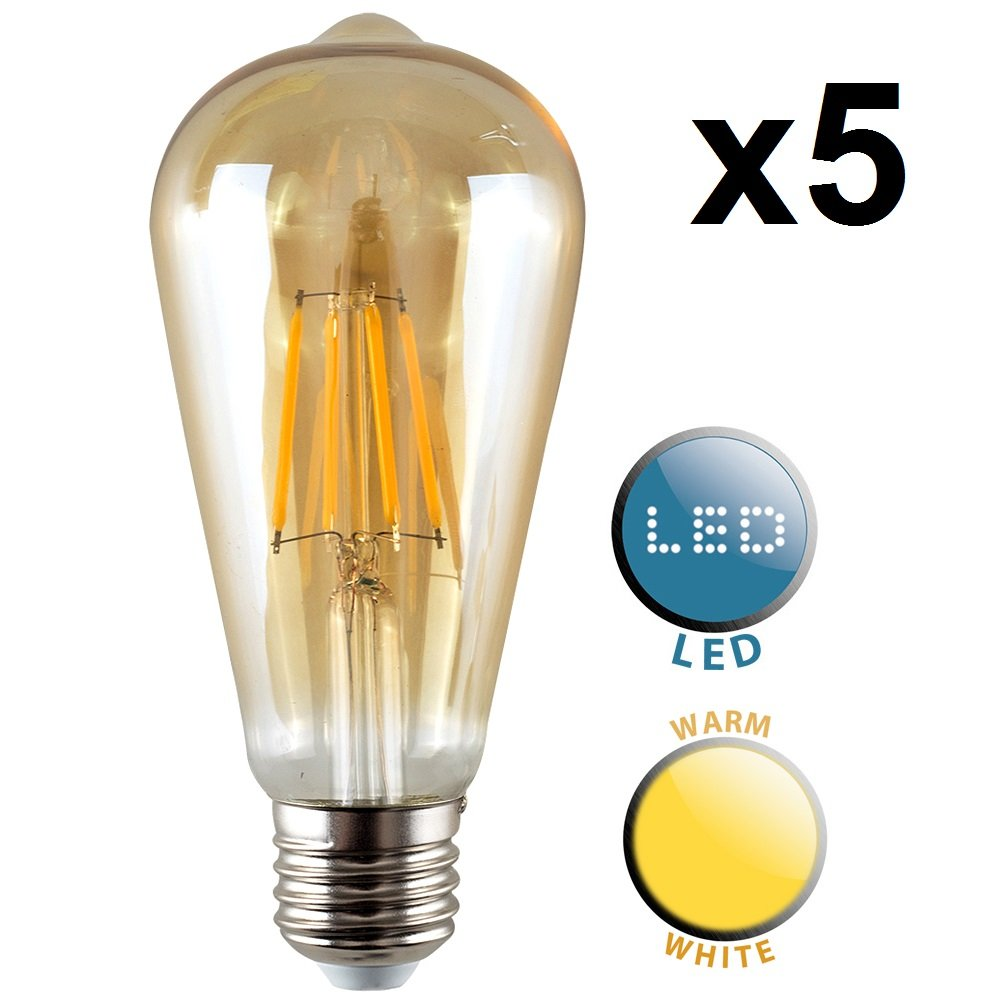 Pack of 3 Vintage Style LED Technology 4w ES E27 Unique Designer Style Amber Tinted Squirrel Cage Steampunk Light Bulbs /  Energy Class A+ 2700K Warm White