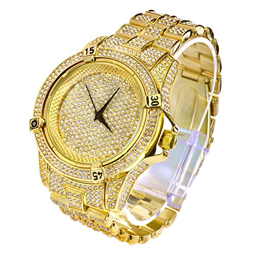 Men's Hip Hop Luxury Iced Out 14K Gold Plated Metal Band Rapper's Bling Watch (14k Gold Womens Watch)