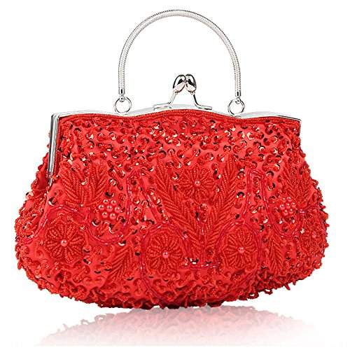 Bag Pearl Bags Bridal Red Handbag Ladys Womens Clutch Beaded Clutch Evening Fashion Pearl For Beaded Bag Sequin Bag Glitter xxfTOZwqH