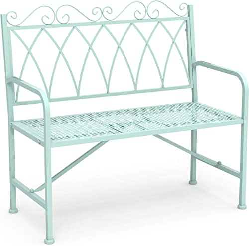 LAZZO 40.7 Metal Loveseat Bench, Stylish Outdoor Benches with Armrests for Patio Garden Farmhouse Mudroom Living Room Entryway Porch Bench Rounded Corners Sturdy Frame Mint Green