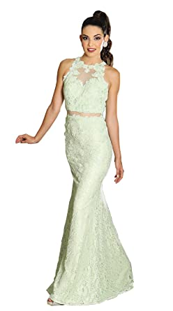 May Queen MQ1224 Special Occasion Fitted Gown (4, Mint)