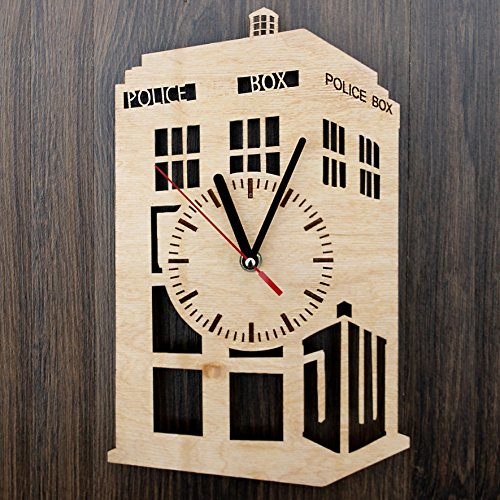 Doctor Who Tardis Design Real Wood Wall Clock - Eco Friendly Natural Room Wall Decor - Creative Gift Idea for His and Her