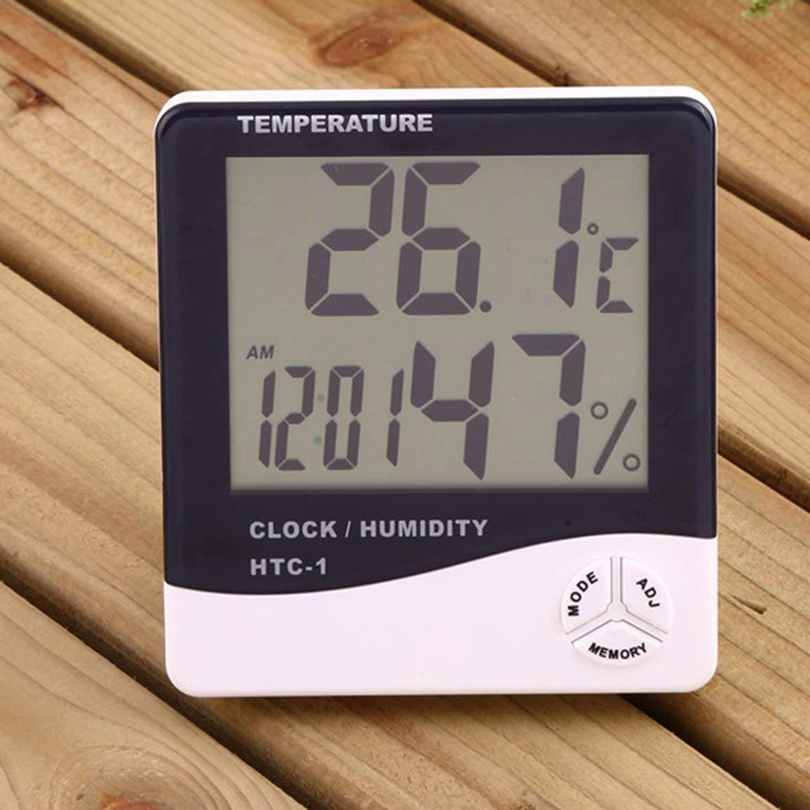 Colore: bianco Htc-1 Termometro elettronico per interni Sveglia Creativa per la casa Grande schermo Termometro e igrometro Regalo