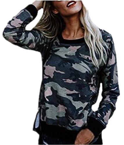 Tayaho T-Shirt Mujeres Maglia Round Neck Manga Larga T-Shirt Impreso Camuflaje Top Ocasionales Guays Blusas Hipster Joven Camisetas Bonitas Rock