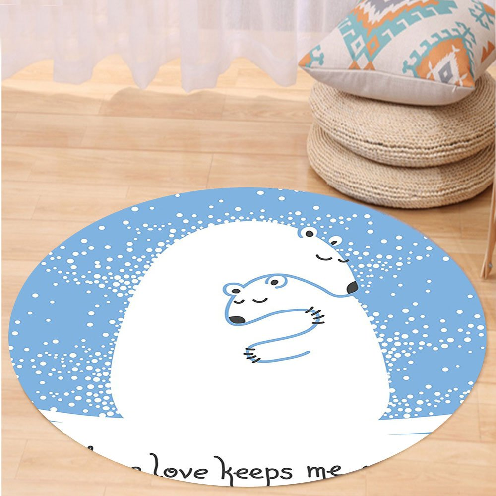 VROSELV Custom carpetAnimal Decor Mother Polar Bear Hugging Her Baby in The Snow North Winter Love Keeps Warm Artful Theme Bedroom Living Room Dorm Decor Blue White Round 79 inches