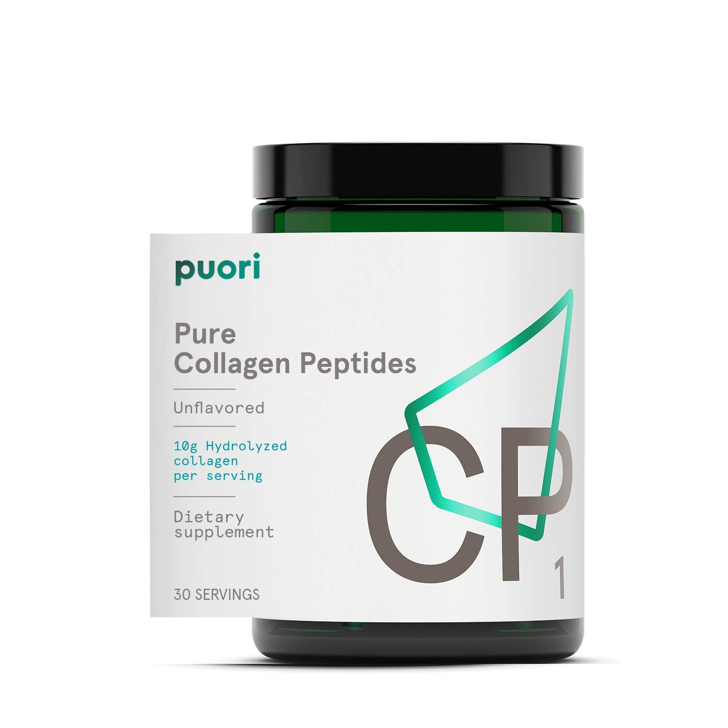 Puori - CP1 Pure Collagen Peptides Powder - Hair, Skin, Nails - Joint, Bones Support - Hydrolyzed Protein, Unflavored, 30 Servings