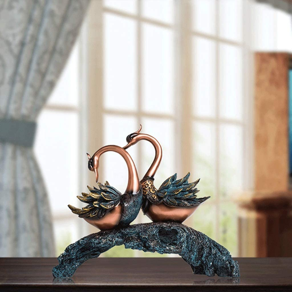 Resin Decoration Animal Craft Decoration Home Decoration JJSPP Swan Lover Figurine Porcelain Sculpture Statue