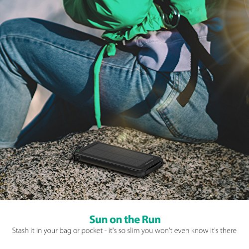 Solar Charger RAVPower 10000mAh Outdoor Battery Pack with iSmart 2.0 and Dual Input (Solar and Outlet), Shockproof Solar Power Bank with LED Flashlight for iPhone, Galaxy, Android, and More by RAVPower (Image #1)