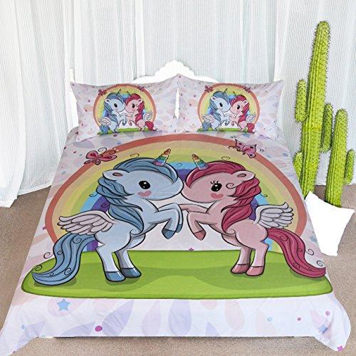 ARIGHTEX Rainbow Unicorn Bedding, 3 Pieces Kids Pegasus Bed Set, Pink Blue Pastel Duvet Cover, Love Gifts for Girlfriend Boyfriend (Full) -