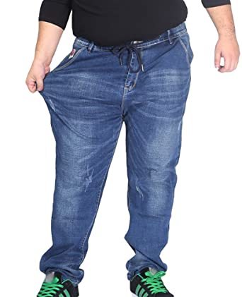 Pantalons Haute Denim Homme Loisir Heheja Taille Élastique Straight vR6pnA