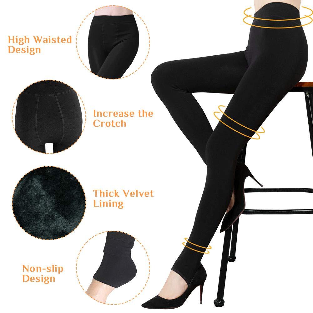 2 Pack Leggins Termicos Mujer Mallas Termicas Mujer Pantalon Termico Leggins Mujer Invierno Terciopelo El/ástico Leggings Mujer Invierno Leggings Negros