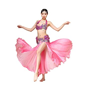Qlan Belly Dance Bra Top Coloured Bead Sequined Belly Dancewear Dance Clothes
