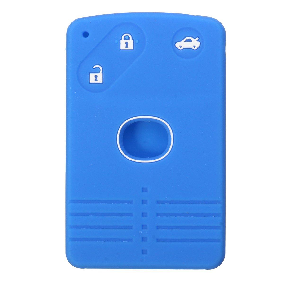 GOZAR Coche Clave Caso Cubierta Silicona 3 Botones Tarjeta Inteligente Caso Clave Cubierta Fob Para Mazda-Azul