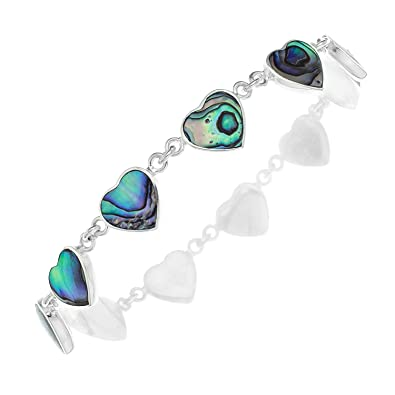 Ornami Ladies 20 cm Abalone Leaf Sterling Silver Bracelet