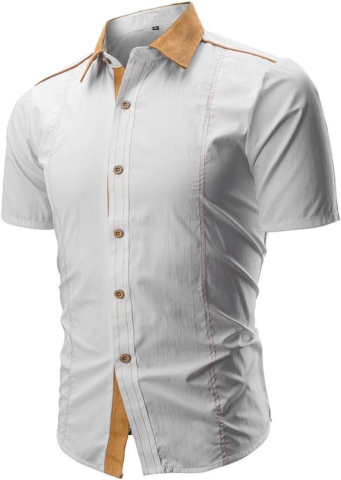 Aiserkly - Camisa de Manga Corta para Hombre con Botones y ...