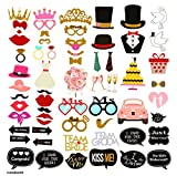 INSTABOOTH 60-Pack Photo Booth Props | Great Decorations for Wedding Party Props | Wedding Bachelorette Bachelor Bridal Shower Bride Groom Selfie Party Props | DIY Required