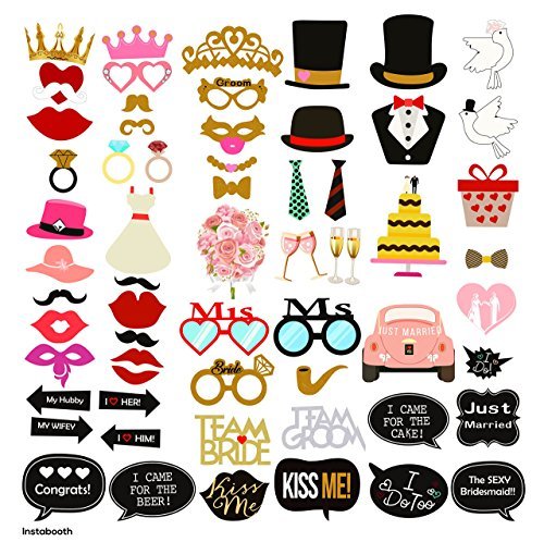 INSTABOOTH 63-Pack Photo Booth Props | Great Decorations for Wedding Party Props | Wedding Bachelorette Bachelor Bridal Shower Bride Groom Selfie Party Props | DIY -